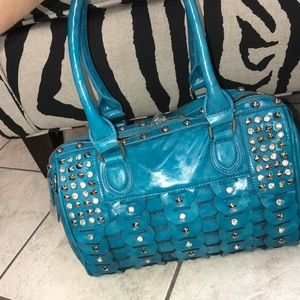 Handbags - Purse-Turquoise with studs & bling